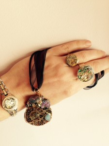 Bracelet, necklace, and rings by Kirk Creates