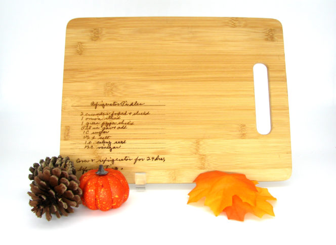 recipe engrave on cutting board