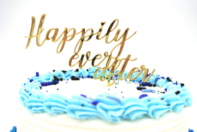 Cake Topper sign example in mirror acrylic