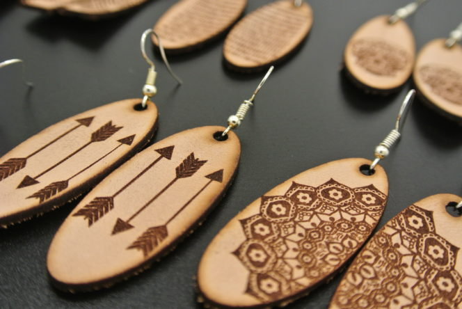 Leather laser cut earring example